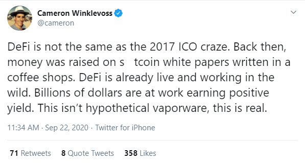 Cameron Winklevoss: 'DeFi Is Not the Same as the 2017 ICO Craze'